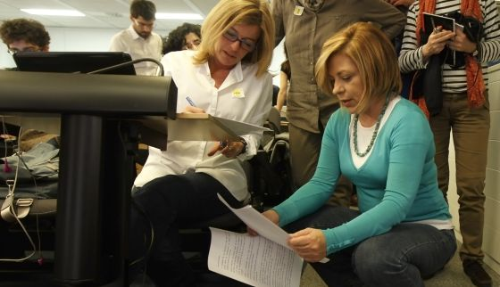 Elena Valenciano en la sala de prensa del PSOE en Ferraz tras conocerse los resultados.