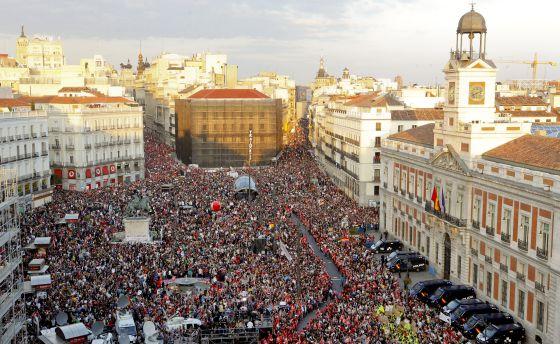 Imagen de la manifestación en la Puerta del Sol de Madrid.