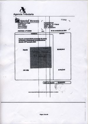 Documentos de Special Events que cubrieron los gastos del congreso de Madid (70.000 euros).