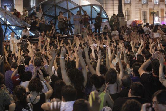 Asamblea del 15-M en la Puerta del Sol, esta noche.