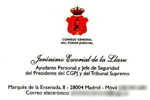 Tarjeta de presentación del jefe de seguridad de Dívar.