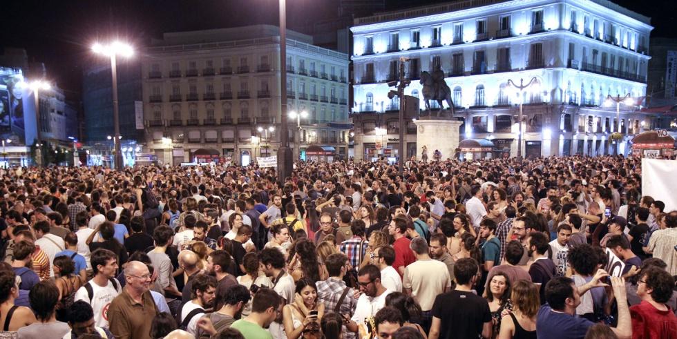 Aspecto de la Puerta del Sol durante las protestas por los recortes.