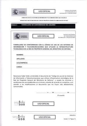 Formulario de conformidad que firman los usuarios de WAN PG.