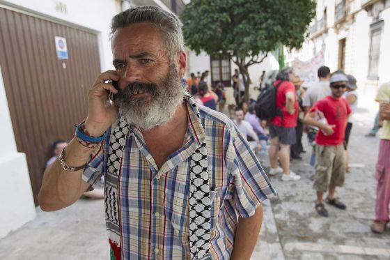 Sánchez Gordillo, hoy frente a los juzgados de Écija.