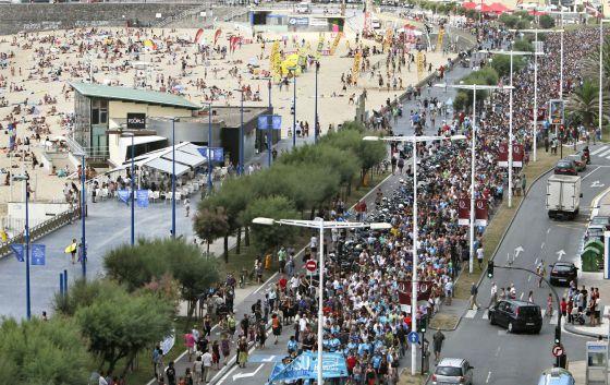 Marcha en favor de los presos, hoy en San Sebastián.