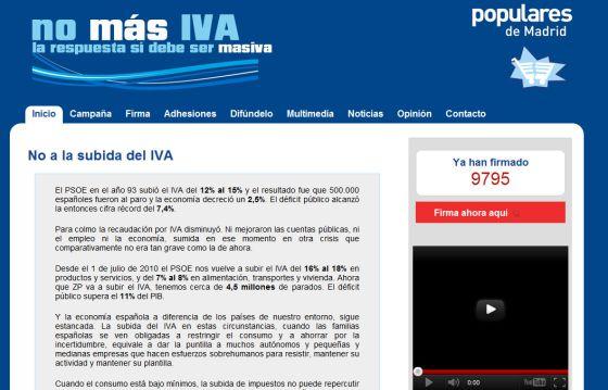 Web 'espejo' de la página de la campaña 'No más IVA'