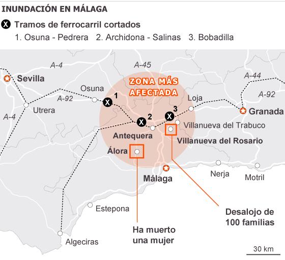 Diez muertos en Murcia, Almería y Málaga por las lluvias torrenciales