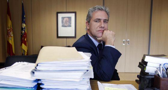 Pedro Luis Viguer, el jueves pasado, en su despacho de la Audiencia Provincial de Valencia.
