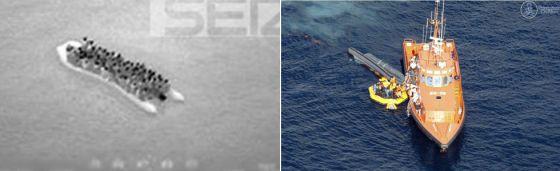 Imágenes de la patera captada por el Frontex y de la rescatada por Salvamento Marítimo.