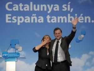Sánchez-Camacho y Rajoy, durante el mitin de Lleida.