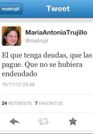 """La exministra Trujillo a quienes afrontan el desahucio: """"No haberse endeudado"""""""