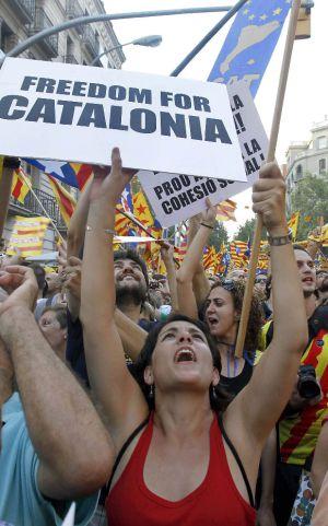 Manifestantes independentistas, el pasado 11 de septiembre en Barcelona.
