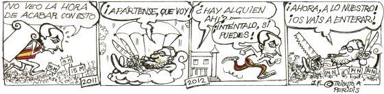El eurodiputado socialista Juan Fernando López Aguilar, que fue ministro de Justicia en el primer Gobierno de Zapatero, caricaturiza la salida del expresidente de Moncloa y rinde tributo a Peridis.