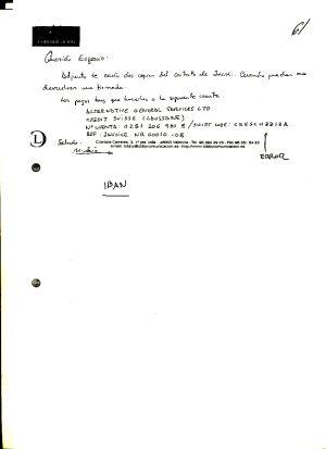 Una de las notas que escribió un empresario con el que presuntamente colaboraba el duque de Palma.