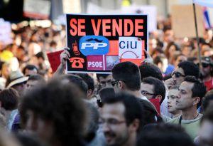 Manifestación celebrada en 2011 en Valencia con el lema 'Por una democracia real'