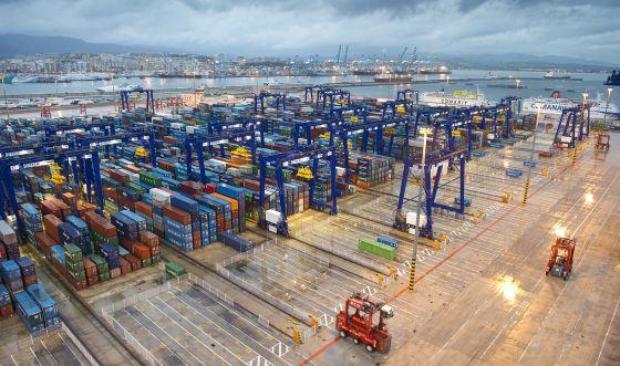 La terminal de contenedores del puerto de Algeciras, el pasado abril.