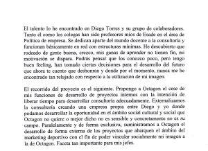 Fragmento del documento enviado por Urdangarin en el que alaba a Torres y anuncia la creación de un proyecto en común.