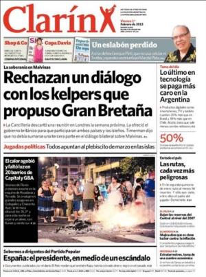 La portada de Clarín recoge el escándalo