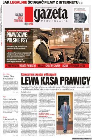 El periódico polaco Gazeta abre la edición en papel con la información de las cuentas secretas de Bárcenas y una foto de Mariano Rajoy
