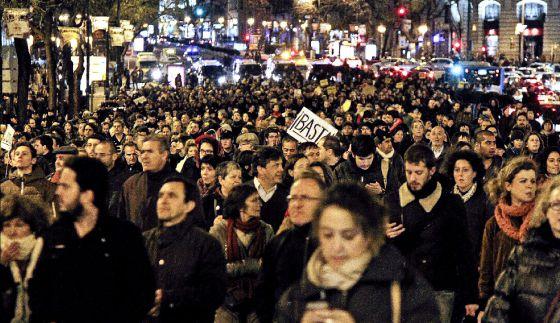 Protestas en Madrid por el escando de los papeles de contabilidad de Bárcenas.