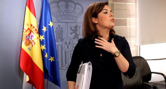 La vicepresidenta Soraya Sáenz de Santamaría, tras el consejo de ministros de ayer