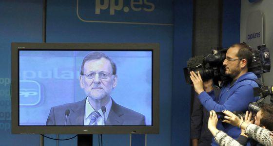 El presidente del Gobierno, Mariano Rajoy, el pasado 2 de febrero, cuando se comprometió a publicar su renta, en un discurso televisado a la cúpula del PP.