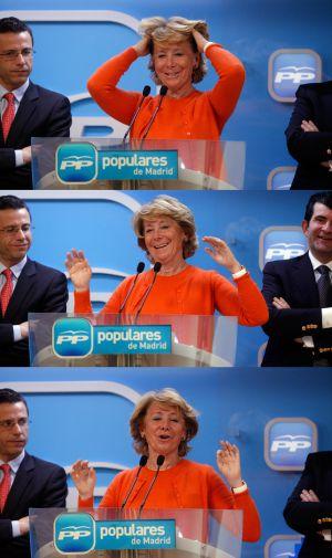 Esperanza Aguirre en la rueda de prensa tras el Comité de Dirección del PP.