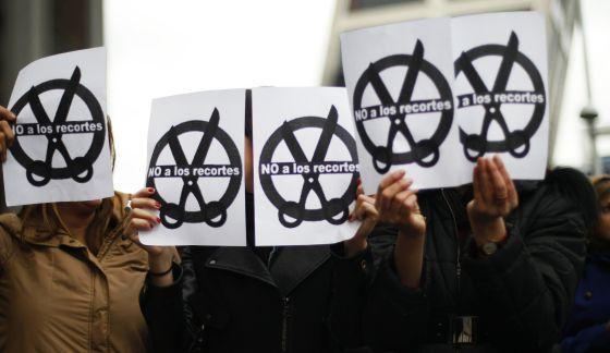 Protestas en Madrid durante la huelga de jueces y fiscales del miércoles.