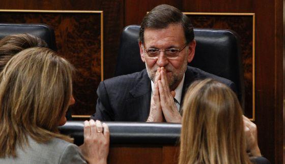 El presidente del Gobierno, Mariano Rajoy, ayer, en su escaño en el Congreso.