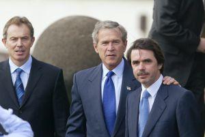 Blair, Bush y Aznar en las Azores.