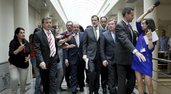 Rajoy llega a la sesión de control al Gobierno en el Senado.