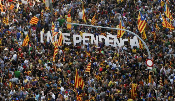 Manifestación independentista celebrada en Barcelona el pasado 11 de septiembre y que congregó a miles de personas.