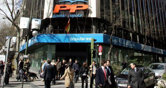 Fachada de la sede central del PP en la calle Génova de Madrid.