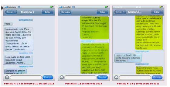 SMS entre Mariano Rajoy y Luis Bárcenas reproducidos por el diario 'El Mundo'.
