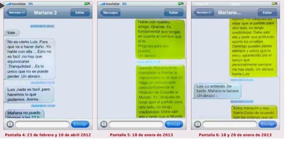Mensajes de móvil entre Rajoy y Bárcenas publicados por 'El Mundo'.