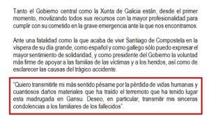 El Gobierno mezcla el accidente de Santiago con el terremoto de Gansu