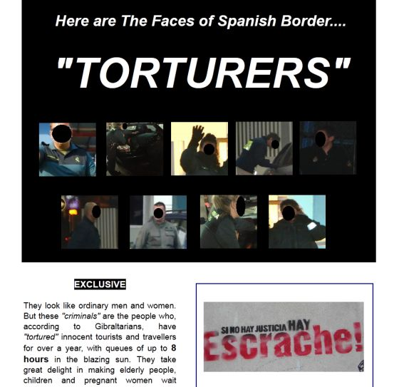 Una página web que publica fotos de agentes que custodian la frontera con Gibraltar.