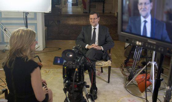 Mariano Rajoy, durante la entrevista con Sara Eisen.