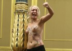 Feminist activists stage topless pro-abortion protest in Congress
