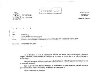 """EL DOCUMENTO CONFIDENCIAL.  El oficio reservado se titula """"Medidas a aplicar sobre personal militar identificado con indicios de radicalidad""""."""