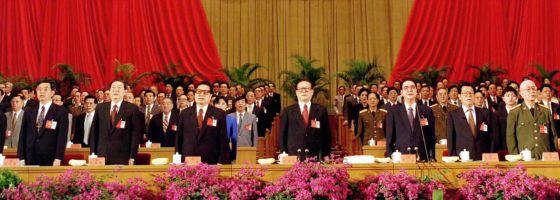 Acto de apertura del congreso del PCCH el 12 de septiembre de 1997. En el centro, el entonces presidente, Jiang Zemin.