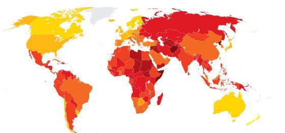 Mapa mundial de la percepción de la corrupción 2013.