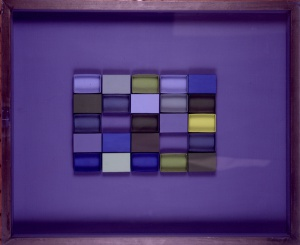 'Collage' de cajas de cartón titulado 'Verdes y azules', del año 1996.