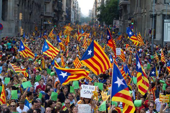 Banderas independentistas catalanas en Barcelona, en la Diada de septiembre de 2012.