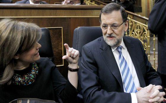 Rajoy Sáenz de Santamaría, al inicio del debate.