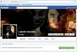 A screen grab of the fake Lisbeth Salander Facebook profile.