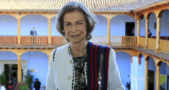 La Reina Sofía durante su visita al Centro de Formación de la Cooperación Española en Antigua (Guatemala).