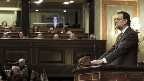 Prime Minister Mariano Rajoy addresses Congress during the debate on giving the Catalan parliament powers to organize an independence vote.
