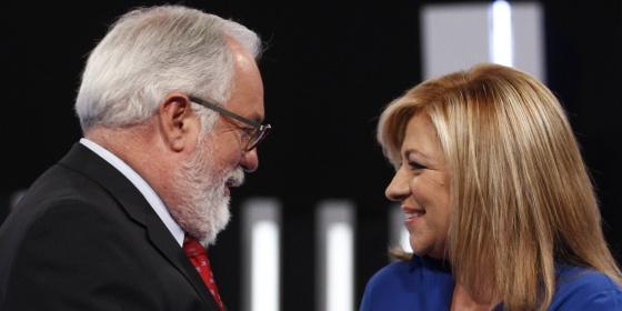 Arias Cañete y Elena Valenciano, en el debaten electoral del jueves.rn