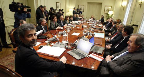 Pleno del CGPJ, con su presidente, Carlos Lesmes, en primer término.